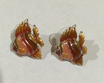 Gold Fish earrings, Fish earrings, Vintage paint enamel earrings