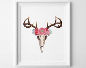 Art Printable, Deer watercolor, Floral print, antlers wall art, 8 x 10in printable, wall decor printable, deer skull art, deer printable