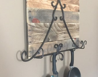 Rustic Pot and Pan Rack / Hanging Pot Rack/ Reclaimed Wood Pot Rack/ Iron Pot Rack
