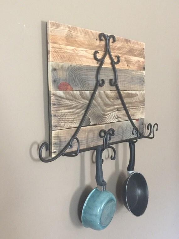 Rustic pot and pan rack hanging pot rack reclaimed wood pot for Reclaimed wood pot rack