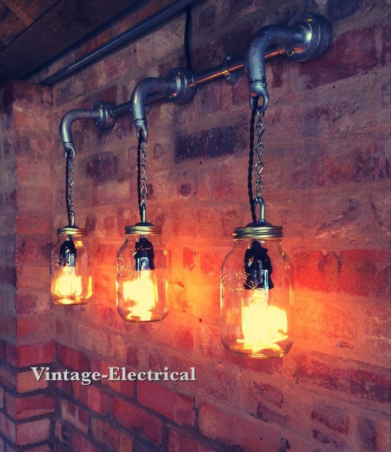 Wall Light Jam Jar : Industrial Kilner jam jar wall light fitting by VintageElectrical