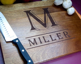 Personalized Monogram Cutting Board (M2)  Engraved Cutting Board, Custom Cutting Board, Wedding Gift, Anniversary Gift