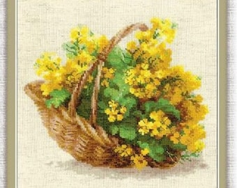 "Cross Stitch Kit By Riolis ""Yellow Rapeseed"" - Flowers cross stitch"