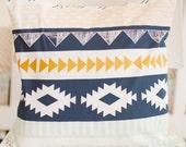 Navy, Mint & Gold Tribal Nursery Throw Pillow for Boys   Arid Horizon Baby Bedding Collection