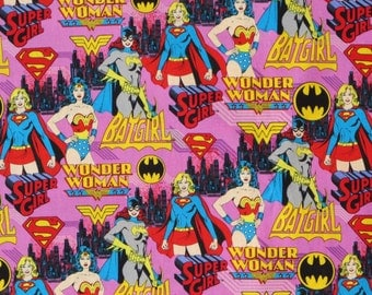 Girl Power Super Girl Out of Print Pink DC Comics Cotton Fabric. By the yard.