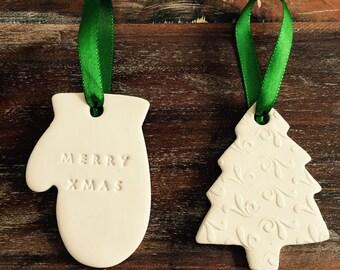 Set of 2 Handmade Christmas Ornaments / Decoration