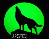 Howling Wolf at Moon - Glow in the Dark Decal / Sticker - Macbook, iPad, Tablet, Car, Window