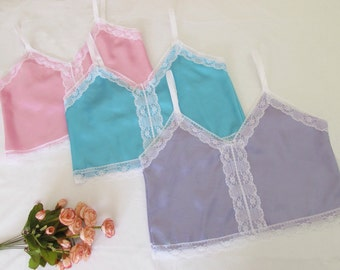 Pastel satin and white lace camisole lingerie sleepwear boudoir (3 colours)