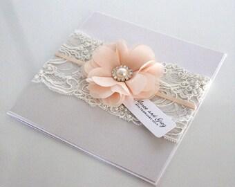 Chloe Invitation SAMPLE - Chiffon Flower Beaded Lace Satin Ribbon invitation