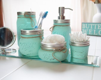 Mason Jar Set ~ Makeup Organizer ~ Mason Jar Bathroom Set ~ 5 ~ Toothbrush Holder ~ Soap Dispenser Jar ~ Distressed ~ Home Decor ~ Vintage