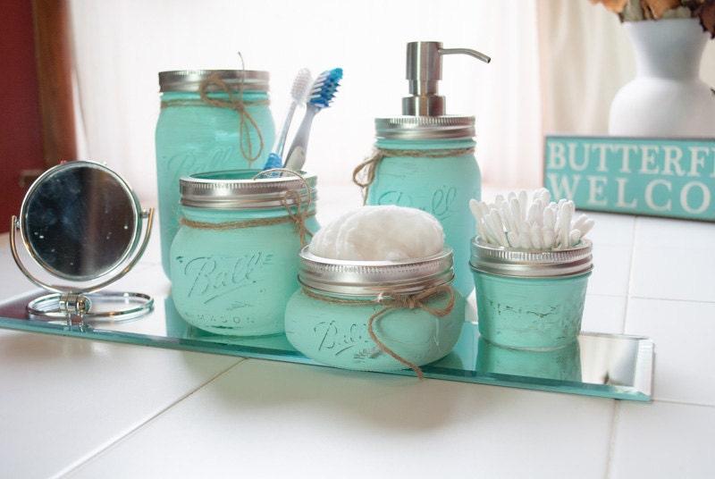 Mason Jar Set Makeup Organizer Mason Jar Bathroom Set 5 Toothbrush Holder