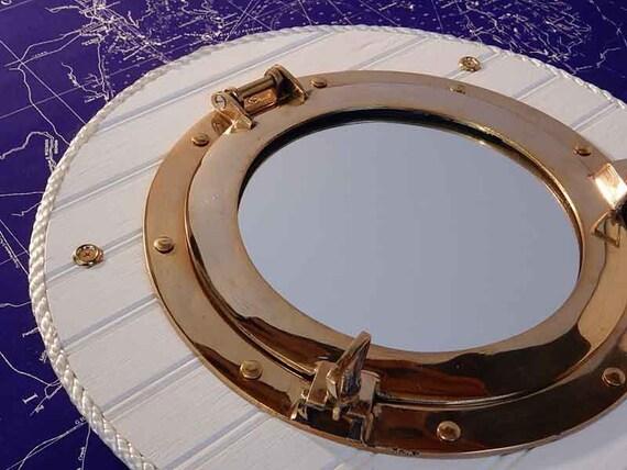 articles similaires laiton navire hublot mur miroir d cor vintage nautique plage de bord. Black Bedroom Furniture Sets. Home Design Ideas