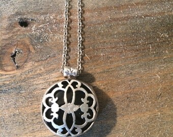Timeless One of Kind Round Black Jade Pendant (28mm), Silver Necklace, Handmade