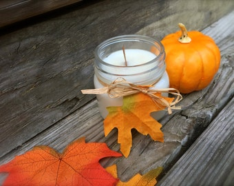Client Gift, Autumn Soy Candle, Natural Wooden Wick Soy Wax Candle- Fall Time Scented