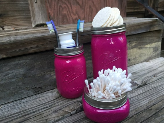 Painted Bathroom Mason Jar Set Raspberry Pink Home Decor