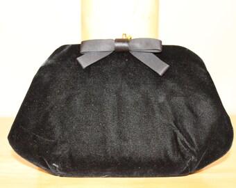Black Velvet Vintage Clutch
