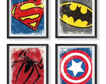 Superhero Logo Symbol Distressed, Vintage Art Print Set - Qty 4 - NURSERY, BEDROOM, PLAYROOM decor, Batman, Avengers, Superman