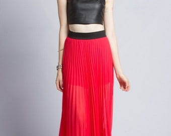 Coated Pleated Maxi Skirt (Made in USA)