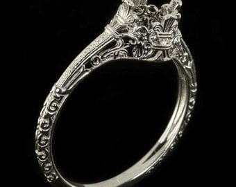 Platinum Vintage Antique Solitaire Art Nouveau Engagement Ring Setting Filigree Engraved Round Cushion 4356-PT