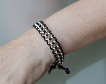 Silver rolor chain, deep violet leather bracelet with adjustable closure