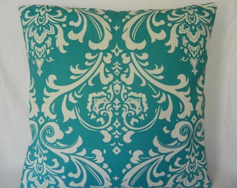 """Turquoise & White Pillow Cover 18"""" x 18"""" by Myidealdesigns"""