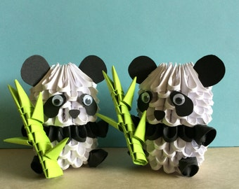 Adorable 3D Origami Panda with Bamboo Shoot  OR  Valentine 3D Origami Panda Couple