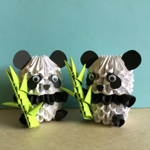 Origami 3d adorable panda avec pousse de bambou ou de la - Origami 3d facile ...