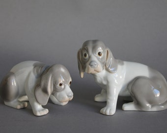 2 pc Porcelain Figurines Dogs