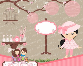 Shabby Chic Roses Party, Girls, Birthday, Clipart
