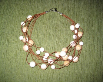Cord Choker necklace brown Beads natural Cream-Coffee
