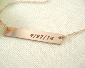 14 kt. Rose Gold filled Personalized Bar Necklace...engraved name plate gold bar jewelry, Sorority gift, monogram, bridesmaid gift
