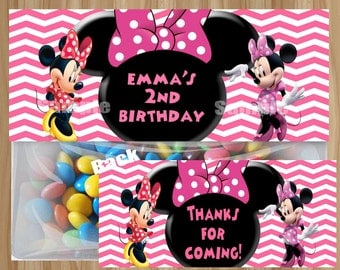 Minnie Mouse Treat Bag Toppers, Minnie Mouse Favor Bag Toppers, Minnie Mouse Birthday, Minnie Mouse Party, Personalized