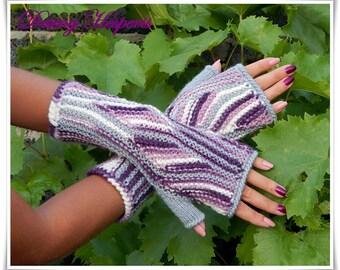 Valentine gift ideas Fingerless gloves, mittens, knitted colorful mittens, gloves, mittens, stylish, elegant, pink, purple, gray