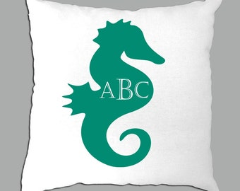 Seahorse with Monogram Personalization on  White Pillow Cover