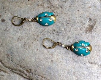Blue Beetle Earrings With Rhinestones and Lever Back Ear Wires Made By Lacy
