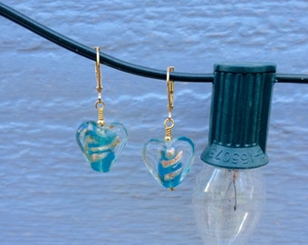 Blue Glass Heart Earrings with Gold Findings