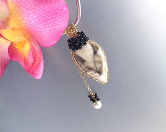 Gold Filled Wire Wrapped Natural Fossil Shell Druzy & Pearl Pendant with Black Spinel Accents