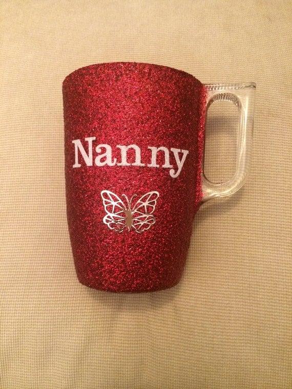 Beautiful hand glittered nanny glass mug personslised