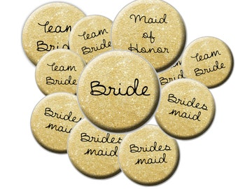 16 Team Bride Buttons - Faux Gold Glitter Pattern Team Bride - Glitter Wedding Buttons - Bride Button - Bachelorette Party Buttons