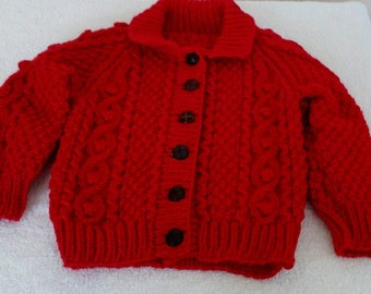Handknit aran children's cardigan