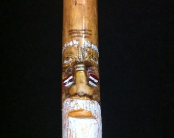 Walking Spirit Stick, Cane, Hand-Carved
