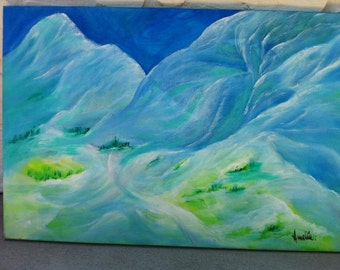 Original Abstract Acrylic Painting/Mountains Majesty
