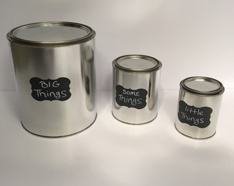 Paint Can with Chalkboard Label - set of 3