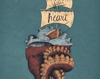 Follow your heart (the sea) - A4 fine art print
