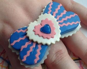 HANDMADE Polymer clay Statement Ring - Glittery blue + pink + white Bow Barrette w/ Gemstone - Kawaii, Lolita, Decora, Harajuku Accessory