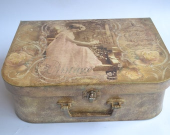 Rustic handmade suitcase for finery made with decoupage
