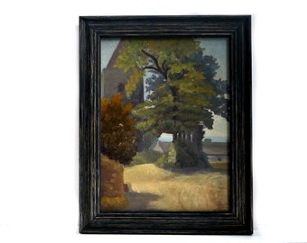 French vintage painting landscape tree and back of church oil painting