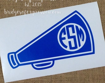 Cheer Megaphone Monogram Glossy Decal Sticker