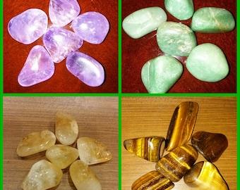 PROSPERITY ABUNDANCE MONEY Pack Set 4 FourTumbled  Gemstones Healing Amethyst Aventurine Citrine Tiger's Eye Ascension888 Law of Attraction