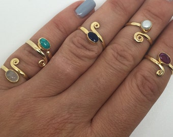 gold plated midi ring,gold toe ring,turquoise midi ring,adjustable ring,ruby midi ring,Sapphire midi ring,pearl midi ring,Moonstone stone